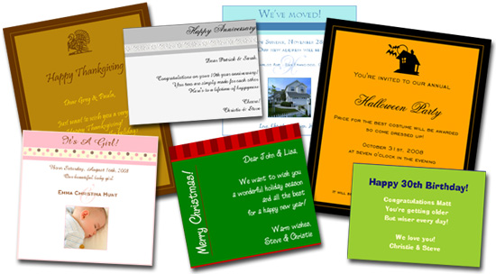 Send Greetings, Party Invitations or Special Wishes & Announcements